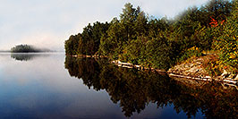 /images/133/1997-10-tema-rabbit-lake-shore-pano.jpg - #00076: morning at Rabbit Lake … August 1997 -- Rabbit Lake, Temagami, Ontario.Canada