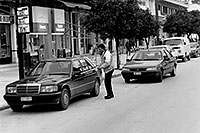 /images/133/1998-12-sparti-street-bw1.jpg - #00234: Mercedes in Sparti … Dec 1998 -- Sparti, Greece