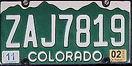 /images/133/1999-04-plates-colorado-white.jpg - #00308: Colorado - cool license plates … from all around -- Colorado