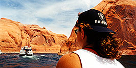 /images/133/1999-08-lake-powell-chris-boat1-pano.jpg - #00348: Christina … views from the boat at Lake Powell … August 1999 -- Lake Powell, Utah