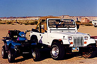 /images/133/1999-08-lake-powell-jeep-quads.jpg - #00345: white Jeep Wrangler and ATV in the morning at Lone Rock  … August 1999 -- Lone Rock, Lake Powell, Utah