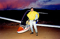 /images/133/2000-02-glider-me-crown-king.jpg - 00462: Returning from Crown King on dirtbike … photo by a crash-landed glider  … Feb 2000 -- Bumble Bee, Arizona