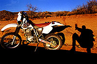 /images/133/2000-04-xr-bumble-bee-shadow.jpg - #00484: my Honda XR400 near Crown King … April 2000 -- Bumble Bee, Arizona