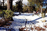 /images/133/2000-04-xr-crown-king-snow1.jpg - #00485: my Honda XR400 near Crown King … April 2000 -- Crown King, Arizona