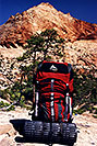 /images/133/2000-05-greater-zion-gregory1-v.jpg - #00489: Gregory Denali backpack … Greater Zion Wilderness … April 2000 -- Greater Zion, Utah