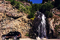 /images/133/2000-07-wolfcreek-road-waterfall.jpg - #00525: Waterfall by the road at Wolf Creek Pass … July 2000 -- Wolf Creek Pass, Colorado