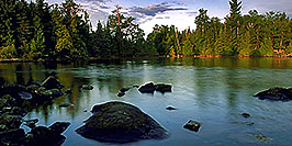 /images/133/2000-09-tema-morning1-pano.jpg - #00687: morning at Lake Temagami … Sept 2000 -- Lake Temagami, Temagami, Ontario.Canada
