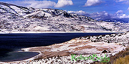 /images/133/2000-12-phx-tor-gunn-lk1-pano.jpg - #00720: lake by Gunnison … Phoenix-Toronto 3,500 mile snow-camping trip … Dec 2000 -- Morrow Point Reservoir, Gunnison, Colorado