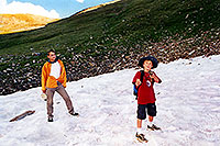 /images/133/2001-07-leadville-snowfield.jpg - #00836: Martin & Kyle … almost at 12,500ft top … July 2001 -- Chalk Mountain, Leadville, Colorado