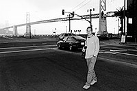 /images/133/2001-07-martin-sf-bridge2bw.jpg - #00843: Martin in San Francisco, in front of the Golden Gate Bridge … July 2001 -- San Francisco, California