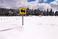 /images/133/2002-03-flagstaff-yellow-sign.jpg - #00925: snow snow everywhere … near house with 7 dogs… March 2002 -- Flagstaff, Arizona