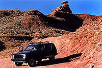 /images/133/2002-06-mexican-hat-jeep.jpg - #00956: Mexican Hat rock formation … June 2002 -- Mexican Hat, Utah