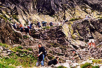 /images/133/2002-07-rysy-chains-people.jpg - #01006: descending Rysy mountains … July 2002 -- Rysy, Vysoke Tatry, Slovakia