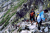 /images/133/2002-07-rysy-chains-people2.jpg - #01006: descending Rysy mountains … July 2002 -- Rysy, Vysoke Tatry, Slovakia