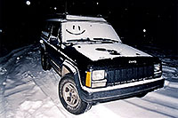 /images/133/2003-03-jeep-night-snowing.jpg - 01146: returning to my snowy jeep … March 2003 -- Snowbowl, Arizona