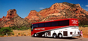 /images/133/2003-06-sedona-bell-bus2.jpg - #01235: Bell Rock in Oak Creek… June 2003 -- Bell Rock, Sedona, Arizona