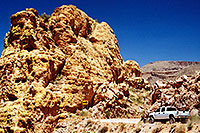 /images/133/2003-06-supersti-road.jpg - #01245: white truck Apache Trail in Superstition Mountains … June 2003 -- Apache Trail Road #2, Superstitions, Arizona