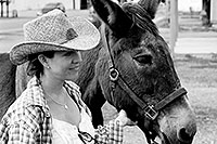 /images/133/2003-08-sonia-mule1-bw.jpg - #01334: Sonia in Chaco, New Mexico … August 2003 -- Chaco, New Mexico