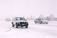 /images/133/2003-11-rosemont-snow-road.jpg - #01371: white Jeep Cherokee and cars in November snow, along Yosemite Road in Lone Tree … Nov 2003 -- Lone Tree, Colorado