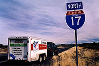 /images/133/2003-12-jeep-moving1.jpg - #01394: along I-17 … when the trailer was too heavy for my jeep … moving Phoenix - Denver … Dec 2003 -- Flagstaff, Arizona
