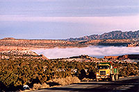 /images/133/2003-12-moab-fog-road2.jpg - #01386: Morning in Moab … before moving Phoenix to Denver … Dec 2003 -- Moab, Utah