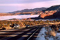 /images/133/2003-12-moab-fog-road3.jpg - #01400: Morning in Moab … before moving Phoenix to Denver … Dec 2003 -- Moab, Utah