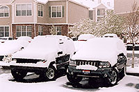 /images/133/2004-04-both-jeeps-snow.jpg - 01417: old Cherokee & new Grand Cherokee … in Lone Tree … April 2004 -- Remington, Lone Tree, Colorado