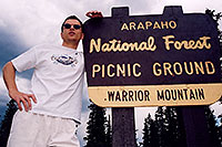/images/133/2004-06-arapaho-sign-me.jpg - 01513: along road near Mt Evans … June 2004 -- Mt Evans, Colorado