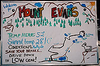 /images/133/2004-06-mtevans-drawn-sign.jpg - #01533: sign at entry to Mt Evans road - Temp here: 52 F, Summit Temperature 28 F high, 0 F low - Trail map … June 2004 -- Mount Evans Road, Mt Evans, Colorado