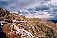 /images/133/2004-06-mtevans-road-view.jpg - #01571: view along Mt Evans road, with Lincoln Lake to the right … June 2004 -- Mount Evans Road, Mt Evans, Colorado