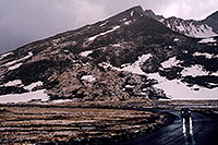 /images/133/2004-06-mtevans-sum-lake-car.jpg - #01576: Mt Evans road next to Summit Lake (right) … June 2004 -- Mount Evans Road, Mt Evans, Colorado
