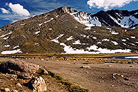 /images/133/2004-06-mtevans-summitlake2.jpg - #01578: Summit Lake at 12,800ft … June 2004 -- Summit Lake, Mt Evans, Colorado