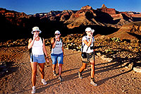 /images/133/2004-07-grand-plateau-3-leaving.jpg - #01693: Ewka, Aneta & Ola returning from Plateau Point (the 4hour  night adventure is about to begin) … July 2004 -- Bright Angel Plateau Point, Grand Canyon, Arizona