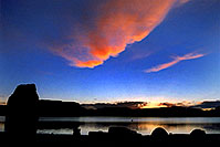 /images/133/2004-07-powell2-sunrise1.jpg - #01756: silhouettes of tents, cars and Lone Rock monument … sunrise at Lone Rock … July 2004 -- Lone Rock, Lake Powell, Utah