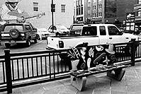 /images/133/2004-08-denver-guitar-bench.jpg - #01835: bench in downtown Denver … August 2004 -- Denver, Colorado