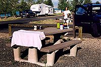 /images/133/2004-08-wyo-cody-camping2.jpg - #02003: time for the morning tea … August 2004 -- Cody, Wyoming