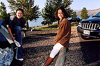 /images/133/2004-08-wyo-cody-girls1.jpg - #02004: Ewka & Ola getting up … they didn`t want to try camping without the tent … August 2004 -- Cody, Wyoming