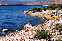 /images/133/2004-08-wyo-cody-lake2.jpg - #02007: kayaking fisherman getting ready … August 2004 -- Buffalo Bill Reservoir, Cody, Wyoming