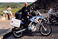 /images/133/2004-08-yello-dakar.jpg - #02047: Dakar motorcycle in Yellowstone Park … August 2004 -- Yellowstone, Wyoming
