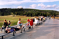 /images/133/2004-08-yello-faith-dadson1.jpg - #02042: Old Faithful geyser on the left … people awaiting another scheduled eruption … August 2004 -- Old Faithful Geyser, Yellowstone, Wyoming