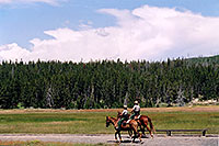 /images/133/2004-08-yello-horse-rangers.jpg - #02064: Yellowstone rangers on horseback … August 2004 -- Old Faithful Geyser, Yellowstone, Wyoming