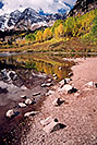 /images/133/2004-09-maroon-bells-vert2-v.jpg - #02162: Maroon Bells reflecting in Maroon Lake … Sept 2004 -- Maroon Peak, Maroon Bells, Colorado