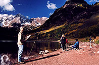/images/133/2004-09-maroon-photog3.jpg - #02195: too late for sunrise photos, too early for everything lit by sun … Sept 2004 -- Maroon Lake, Maroon Bells, Colorado