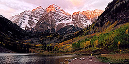 /images/133/2004-09-maroon-view2-w.jpg - #02203: 7am sun touches the peaks of Maroon Bells … Sept 2004 -- Maroon Peak, Maroon Bells, Colorado