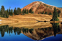 /images/133/2004-10-cinnamon-reflection.jpg - #02262: Cinnamon Mountain (12,293ft) reflection … Oct 2004 -- Paradise Divide, Crested Butte, Colorado