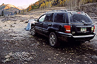 /images/133/2004-10-crested-morn-jeep.jpg - #02302: morning frost on my jeep and tent, near Crested Butte … Oct 2004 -- Crested Butte, Colorado