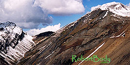 /images/133/2004-10-crested-yule-ridg2-pano.jpg - #02337: skier and snowboarder on trail from Paradise Divide to Yule Pass … October 2004 -- Paradise Divide, Crested Butte, Colorado