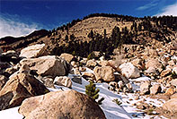 /images/133/2005-03-rockmtn-falls-rocks.jpg - #02525: Rocky Mtn National park, near Estes Park … March 2005 -- Alluvial Fan, Rocky Mountain National Park, Colorado