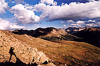 /images/133/2005-09-indep-me-shadow.jpg - 02602: me at 13,000ft, above Independence Pass … view towards Twin Lakes, La Plata Peak rises tallest at 14,336 … Sept 2005 -- Independence Pass, Colorado