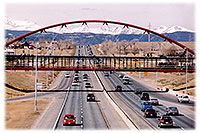 /images/133/2006-03-boulder-bridge-view.jpg - #02792: red VW Beetle Bug heading east to Denver along I-36 … view west towards Boulder … March 2006 -- Boulder, Colorado